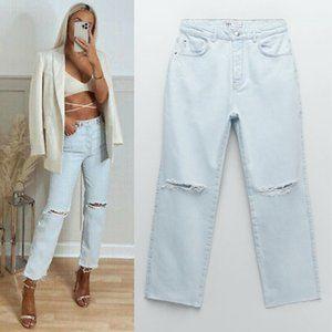 NEW Zara High Rise Waist Straight Leg Rip Jeans 4